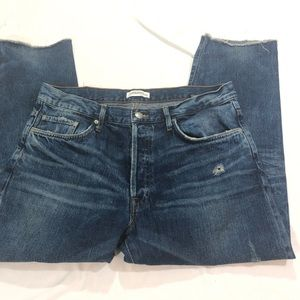 ZARA WOMAN CROPPED DISTRESSED JEANS SIZE 8